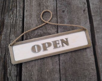 Open-Closed sign Market Sign  Wooden sign Wooden plaque Wooden decor Rustic sign   Made to Order Sign Custom Sign  Shop Sign Door Sign