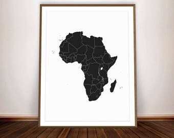 African Print * Africa Map African Art Print Map of Africa Black Power African Poster Black and White Poster African Wall Art African Decor