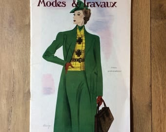 1930's French Fashion Magazine Modes & Travaux with Sewing Pattern