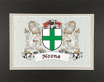 "Noone Irish Coat of Arms Print - Frameable 9"" x 12"""