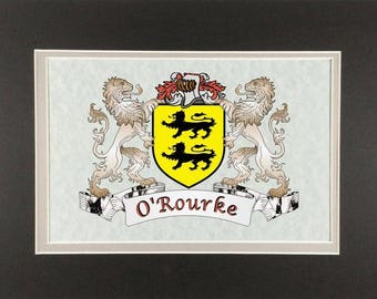 "O'Rourke Irish Coat of Arms Print - Frameable 9"" x 12"""