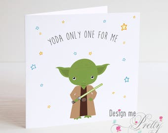 Star Wars YODA Valentines Card - Husband Wife Boyfriend Girlfriend