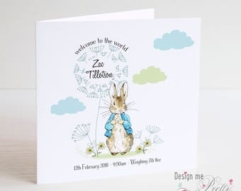 Peter Rabbit New Baby card - Personalised