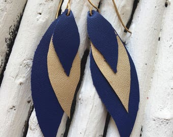 Leather leaf earrings
