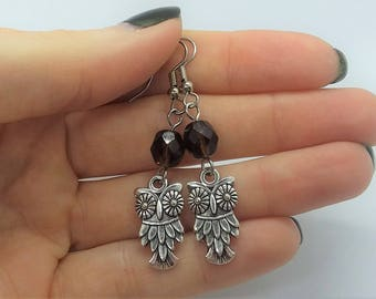 Rootbeer Owl Earrings (Pierced or Clip-On)