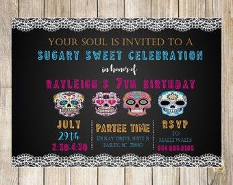 Sugar Skull Birthday Invitation, Day of the Dead Birthday Invitation