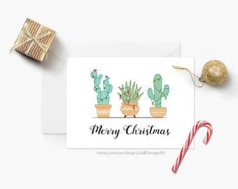 Cactus Christmas Card | Cacti Plant | Succulent Plants | Holiday Card | Seasonal Card | Merry Christmas | Xmas Card | GCXCA608