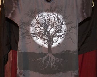 Gothic Clothing Mens Gothic Clothing - Dark Full Moon and Dead Tree Design