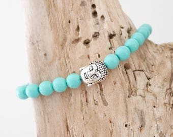 Bracelet with turquoise beads and metal (BRP20) Buddha bead