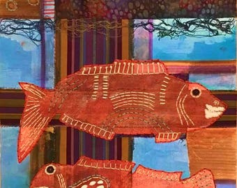 GICLEE of FISH x TWO, 12x18 on watercolor paper Fx2G-1