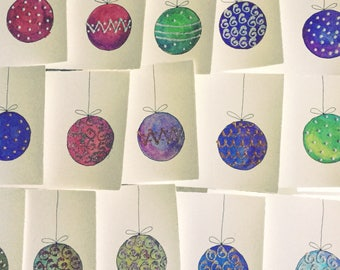 Handmade christmas cards, set of 6, with envelopes