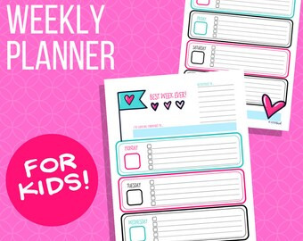 Weekly Planner for Kids: Hearts Theme, Printable weekly calendar for children