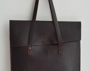 Dark Brown Pebble Grain Leather Tote Bag