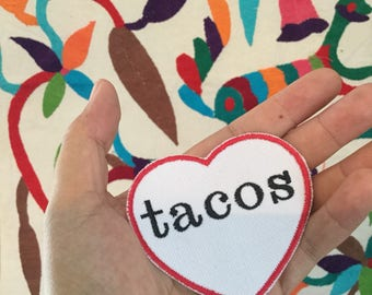 I Love Tacos Iron On Patch