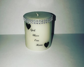 God bless our home candle with sliver bling