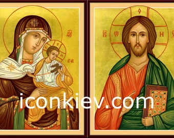 Icons of St. Mary and Jesus Christ Pantocrator, Digital download, Byzantine icon, religious gift, orthodox icon
