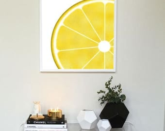 Yellow Lemon Slice Wall Art 30x30 cm