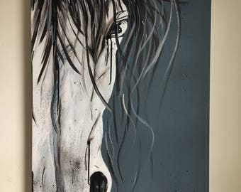 "White horse, acrylic on canvas, 24 ""x 36"""