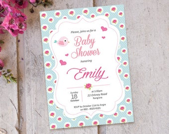 50 % OFF | Baby Shower Invitation | Shabby chic baby Shower printable