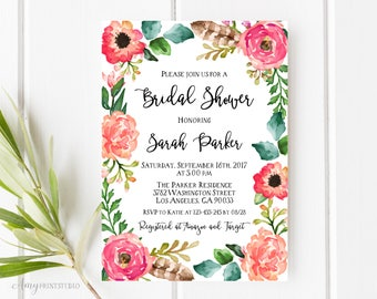 Bridal Shower Invitation, Floral Bridal Shower Invitations, Rustic Bridal Shower Invitation, PERSONALIZED, Digital file, #D08