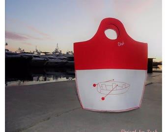 Felt shopper bag, storage totes, felt tote bag, boat image