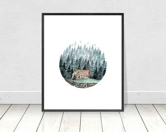 Watercolor Cabin Forest Tree Art Print, Watercolor Art, Poster,Nature Print,Landscape Print,Wall Art,Home Decor,Apartment Wall Art,Gift,Art