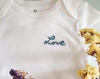 Bodysuit embroidered hand made baby birth