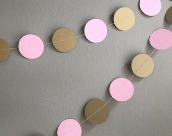 Party garland - Pink and gold garland - Handmade garland - Celebration decorations - Celebration accessories - Pink - Pearlised gold-Shimmer