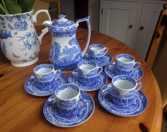 vintage spode blue italian coffee set pottery china collectable items