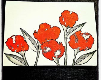 """Hand painted & Hand Drawn Notecards """"Terah - Brights"""": Orange. Pair of 5x7 cards, blank inside with Envelopes."""
