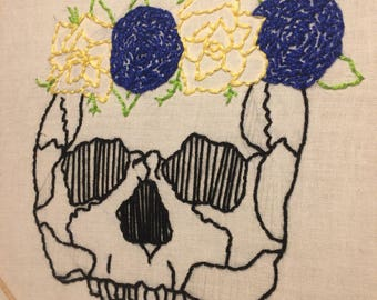 Skull and Flower Crown Needlepoint