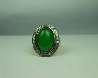 Victorian look 1. 20ctw rose cut diamonds green Emerald sterling silver oval shaped valentine's gift love ring