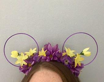 Purple and Yellow Floral Wire Ears