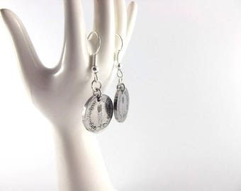 Earrings - French 1 cent coin
