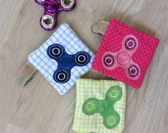 Hand Spinner case, wallet, key embroidered cotton tote