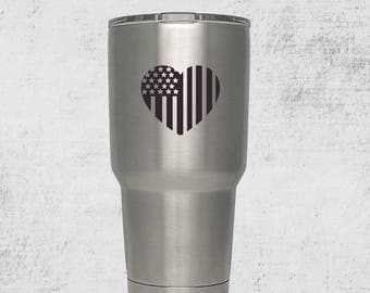 American Flag Heart  Custom Engraved Tumbler with lid PERSONALIZED Gift Idea etched yeti tumbler Rambler 30 ounce steel tumbler