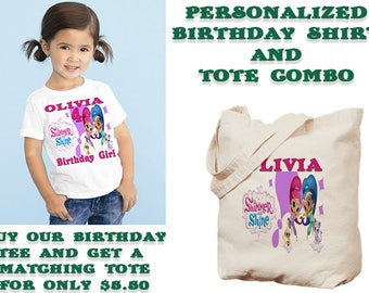 Shimmer and Shine Birthday Shirt, Personalized T-shirt, Family Shirts, Birthday Party Shirt, Birthday Outfit, Party Decorations