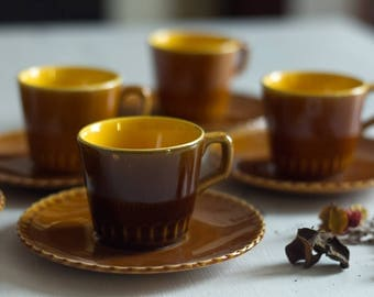 Set of 6 cups and their saucers from the French Manufacture Sarreguemines ceramic coffee set French vintage coffee cups