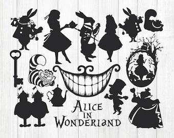 INSTANT DOWNLOAD - Alice in Wonderland, Alice in Wonderland Silhouettes, Alice in Wonderland Svg, Disney Alice in Wonderland Clipart,