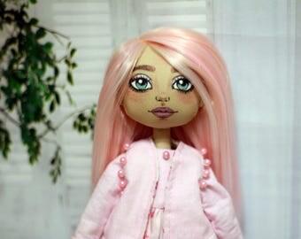 Textile doll, rag doll, cloth doll, art doll, fabric doll, interior doll, OOAK doll, pink, vintage doll, doll