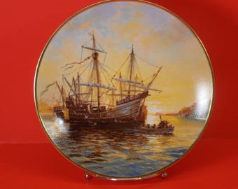 """Columbus Discovers America-500th Anniv' """"Ashore at Dawn"""" Collector's Plate"""