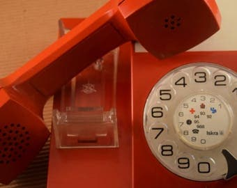 1970s - Vintage red Yugoslavian rotary phone