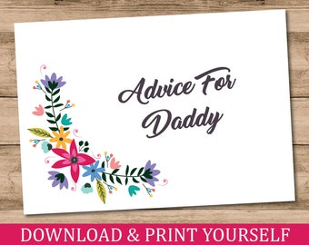 Printable, Personalised A6 Advice For Daddy Baby Shower Game. Floral Design. Digital Download.