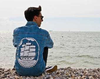 OLD SCHOOL ship - hand painted denim jacket