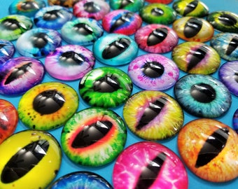 Set of 20, Printed Cabochons, Dragon Eyes, 25mm, Glass Cabochons, Half Round, Dome Glass, Photo Jewelry, Pendant Making, Colorful Eyes, #42A