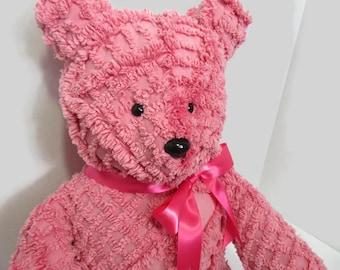 Handmade Vintage chenille teddy bear- Rose