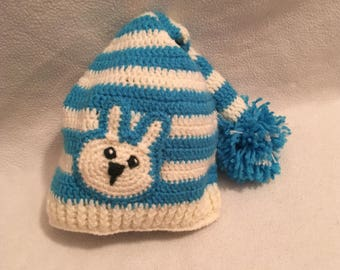 Hand made baby hat with bunny