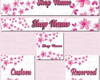 Etsy Store Banner, Roses color, Store Graphics, Etsy Shop Banner, Graphic Design, Shop Icon, Roses Logo Set, Reserved Set, Custom Set