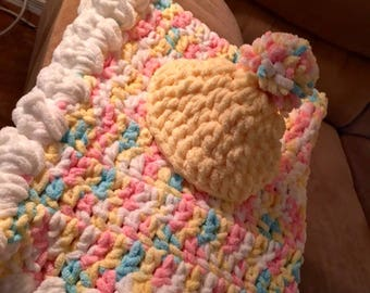 Crochet Baby Blanket & Hat - handmade, baby essentials, baby shower gift, premie-1 year sizes