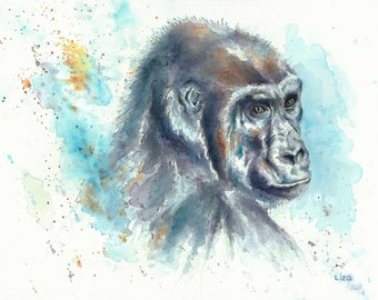 Heaven & Earth  - Gorilla Original Watercolor Painting High Quality Giclée Print canvas home decor office nursery animal art gift PRINT